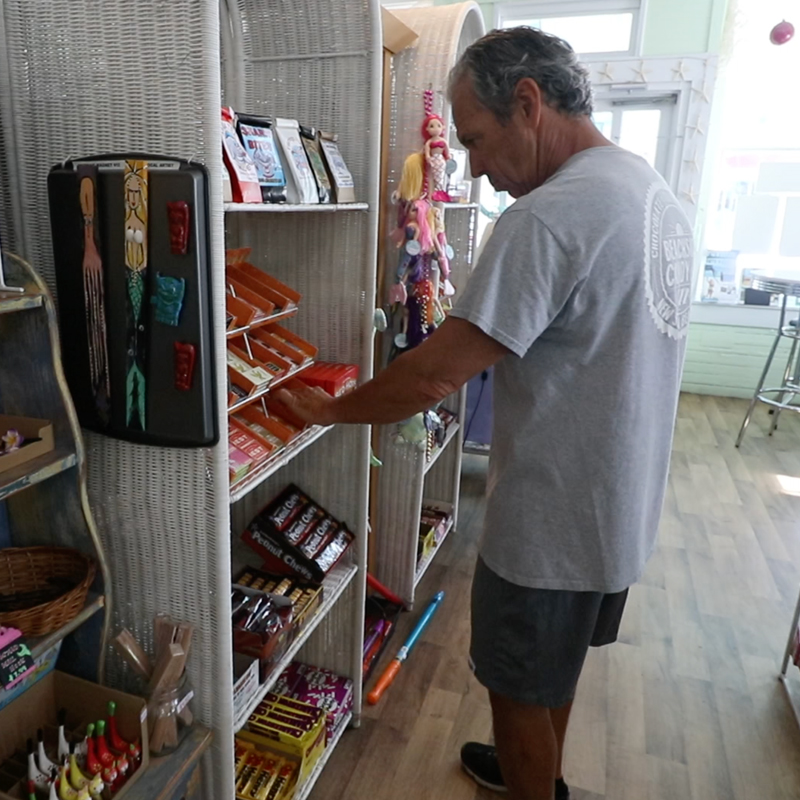 Photo of Dan Rambo owner of Beachside Candy on Flagler Avenue